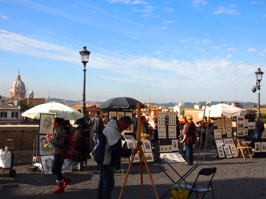 Market at top of the Spanish Steps, Rome, 2012