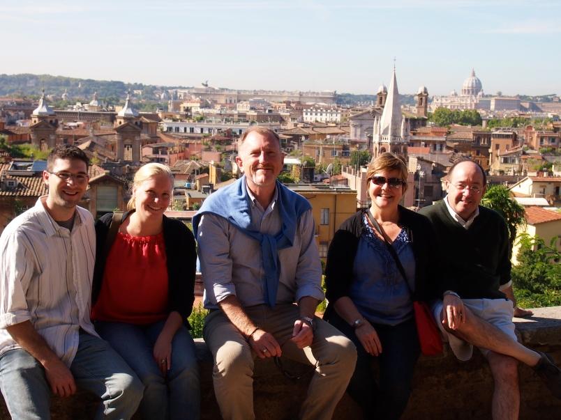 Shaun, Maggie, David, Denny and Bob, Spanish Steps, Rome, 2013