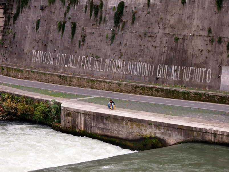 """I love you from here to the end of the world again indefinitely"", Graffiti, Tiber Embankment, Rome"