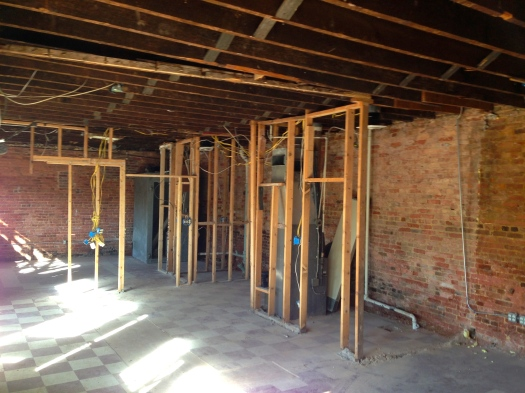 Down to the bare walls and studs, May 2014